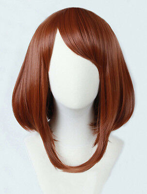 Anime My Hero Academia Ochako Uraraka Short Brown Bobo Cosplay Wig + Track + Cap