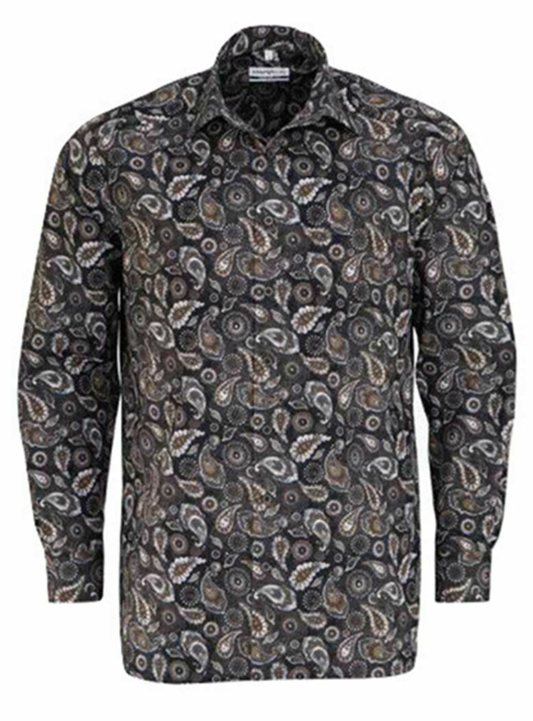 Brown Mix Bold Paisley Spread Collar
