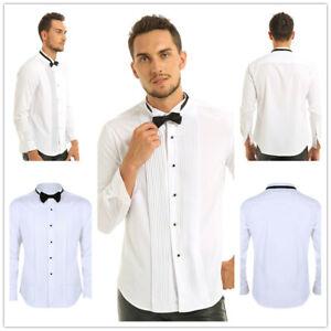Mens-Long-Sleeve-Tuxedo-Dress-Shirts-Formal-Business-Uniform-T-shirt-Bow-Tie-XXL