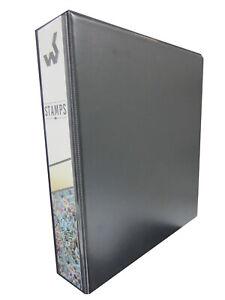 Sello-Negro-Coleccionistas-4-Anillo-Album-carpeta-Lomo-bolsillo-con-papel-quadrilled