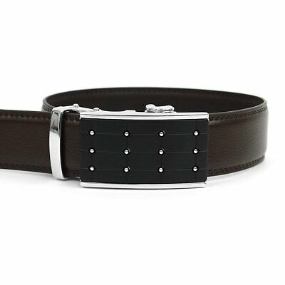 Men/'s Genuine Leather Fashion Belt with Autolock Buckle No Holes