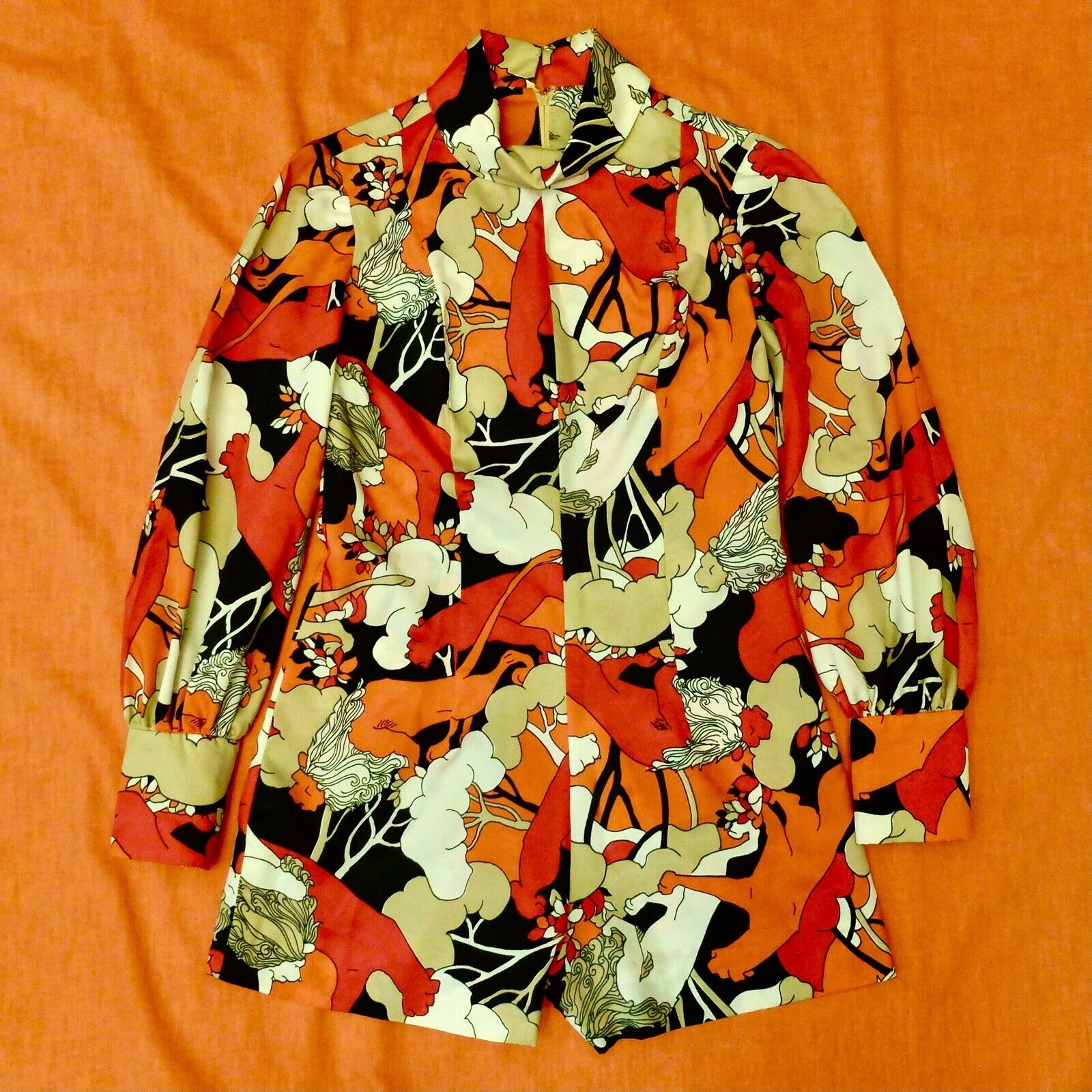 Vintage 60s 70s Handmade Psychedelic Lion Print R… - image 1