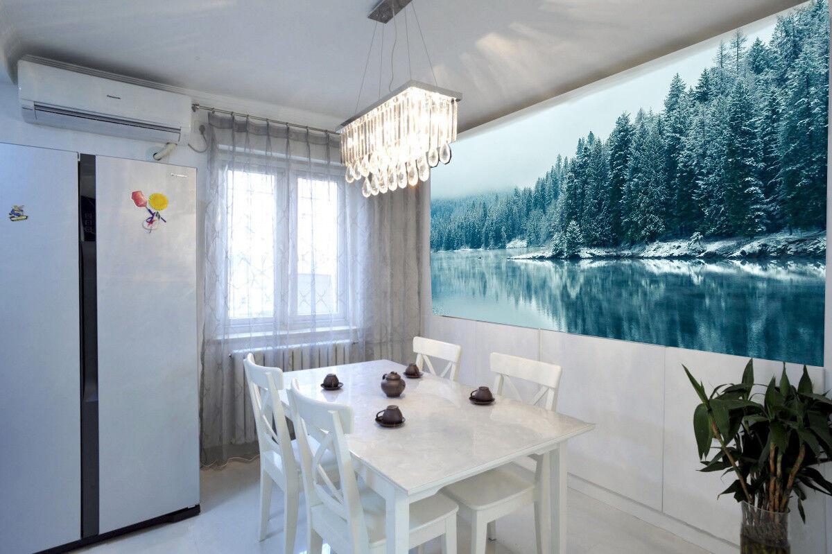 3D Schnee Hölzer See 8596 Tapete Wandgemälde Tapeten Bild Familie DE Lemon