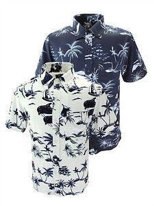 Camisa-de-vacaciones-de-Brooklyn-Azul-Marino-Blanco-Hawaiian-King-Size-Casual-manga-corta-regular