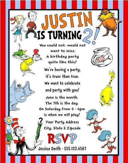 Dr Seuss Horton Thing 1 2 Cat Hat Birthday Party Invitations Personalized