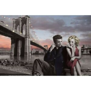 JAMES-DEAN-amp-MARILYN-POSTER-UNDER-BROOKLYN-BRIDGE-CONSANI-91-x-61-cm-36-x-24-034