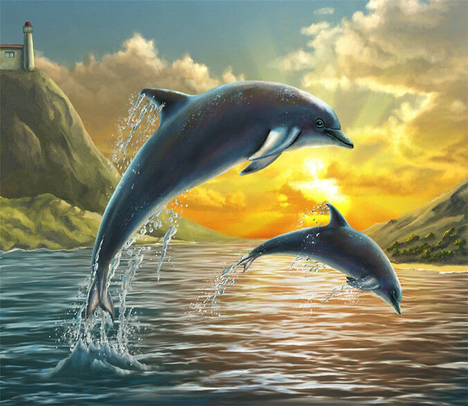 3D Jumping Dolphin 924 Wall Paper Wall Print Decal Wall Deco Indoor Wall