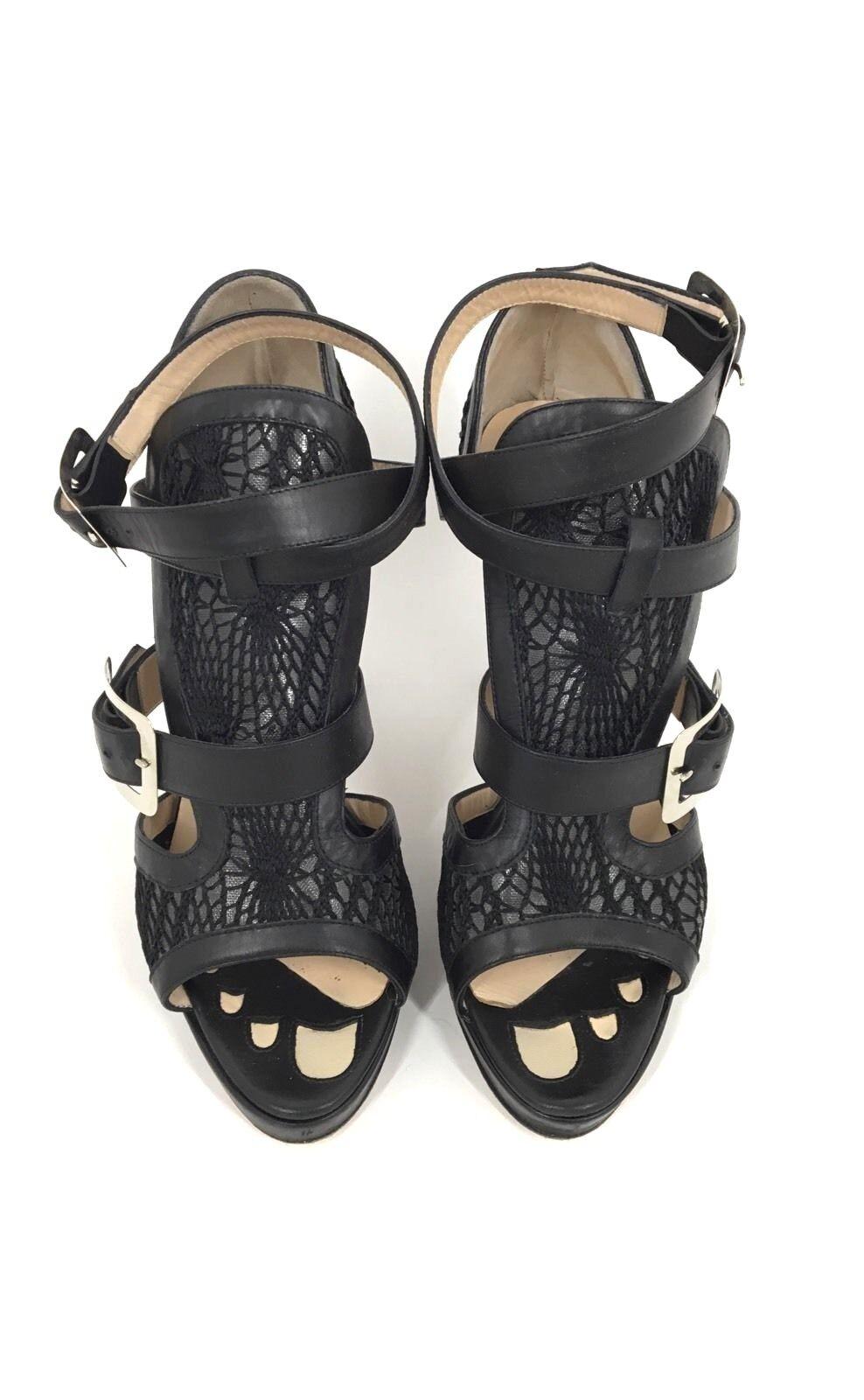 Jean Paul Gaultier Size 40.5 Black Open Toe Heels