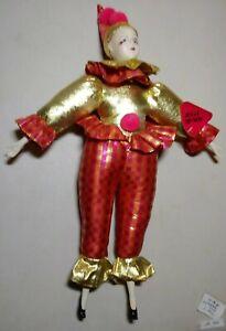 Vintage Sugar Loaf Creations Harlequin Mardi Gras Jester Clown , Doll 1997