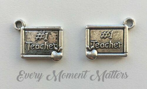10 x Tibetan Silver NO 1 TEACHER WITH APPLE PLAQUE 20mm Charms Pendants Beads