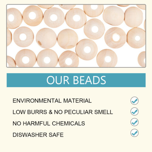 500Pcs 10mm Round Unfinished Wood Beads Natural Wooden Loose Beads Spacer Beads
