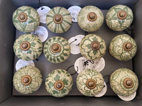 12 variétés Style Vintage-vert en céramique poignées