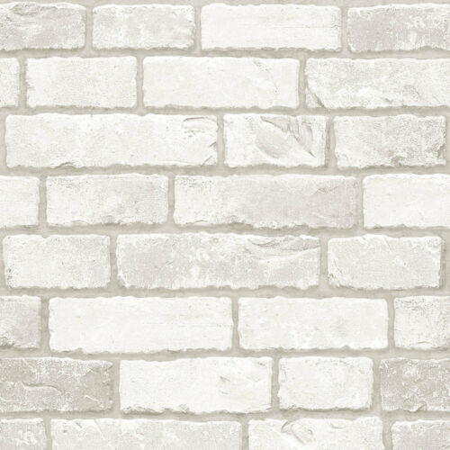 Grey White Brick Look Contact Prepasted Paper Wallcovering Home Decor Wallpaper