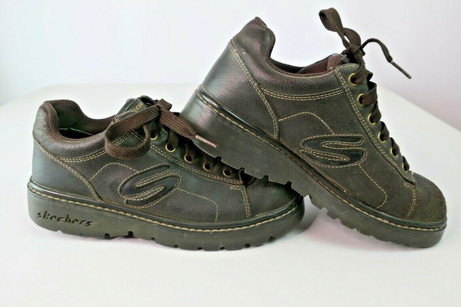 Vintage 90s Marrón Cuero Skechers mujer 7.5 botas Con Cordones Suela del estirón Spice Girls