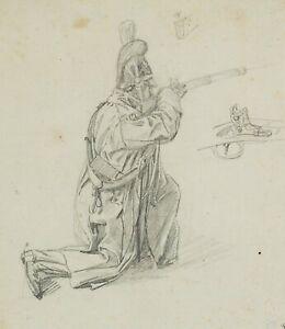 Knieender-Soldat-mit-Gewehr-um-1820-Bleistiftzeichnung