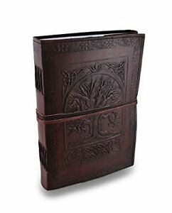 Leather Embossed Journal Writing Notebook - Antique Handmade Leather Bound Daily 647731087452