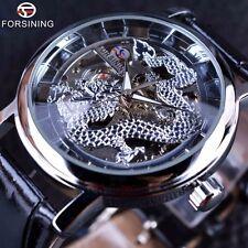 Dragon Carving Series Skeleton Designer Hand Wind Mens Mechanical Wrist Watch NR