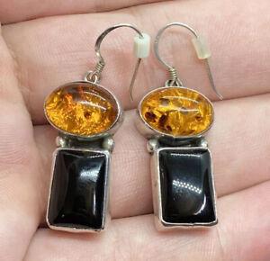 Sterling-Silver-925-Baltic-Amber-amp-Black-Onyx-Dangle-Drop-Earrings