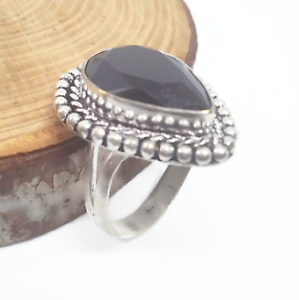 Ring-Handmade-Faceted-Look-Amethyst-Gemstone-925-Silver-Creative-Design-Size-9