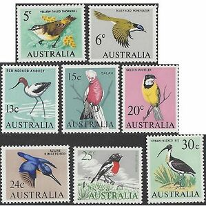 Australia-1966-BIRDS-5c-30c-8-UNHINGED-MINT-SG-386-7-392-7