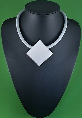 Quirky German Black Rubber Matt Silver Metal Abstract Arty Lagenlook Necklace