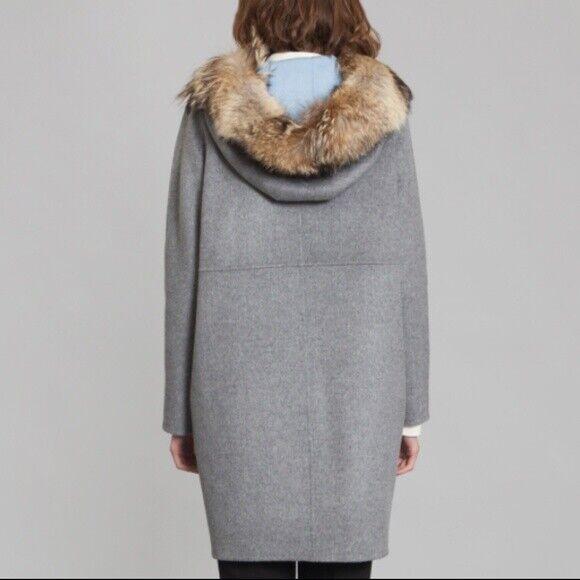 CACHAREL PARIS Fur Hood Parka Coat NWT NWT NWT  1250 US 6  FR 38 NEW 8f78ac