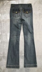 Cache-Leopard-Trim-Boot-Cut-Jeans-Light-Wash-Stretch-Denim-Women-s-Size-0