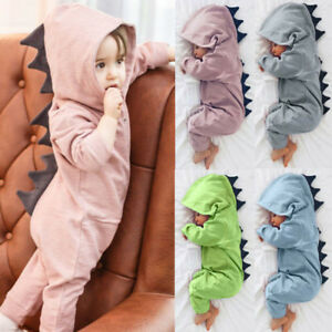 5cbdbbb1b Newborn Infant Baby Boy Girl Kid Dinosaur Hooded Romper Jumpsuit ...