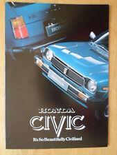 HONDA CIVIC 1200 orig 1979 UK Mkt Sales Brochure - 1st Gen