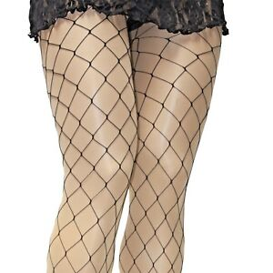 4c134ee8eb822 PLUS SIZE FASHION BLACK BIG FISHNET FOOTED TIGHTS 1X/2X BY COLLANT ...
