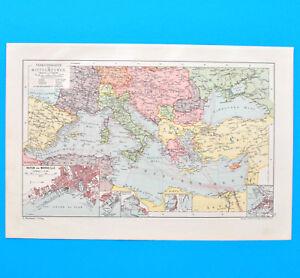 Mittelmeer Verkehrskarte Marseille Historische Landkarte Um 1910