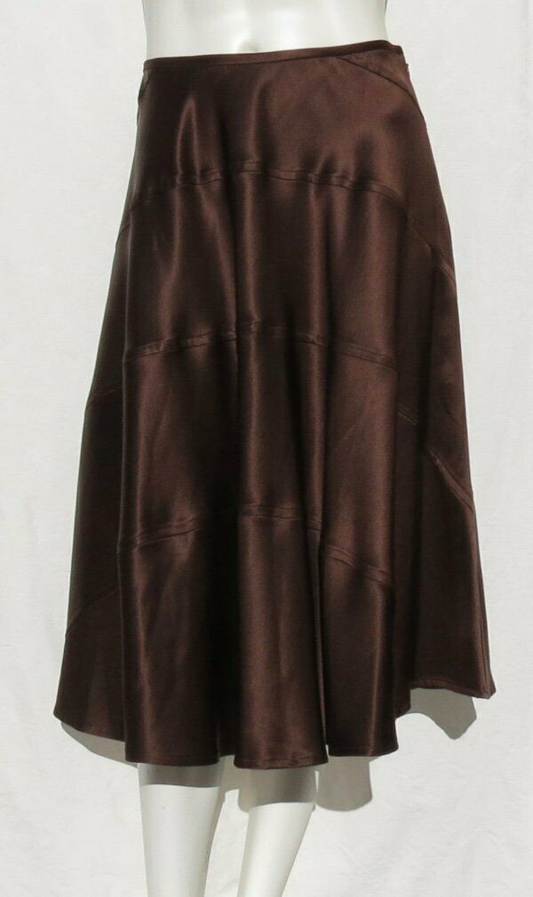 DKNY women Karan New York Brown Silk Charmeuse Bias Cut Seamed Full Skirt size 6