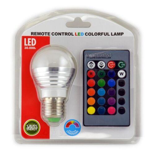 LED RGB E 27 Lampe kompakt 3 W mit Fernbedienung Farben wählbar Leuchtmittel