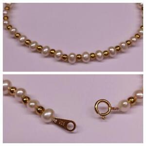 eau-douce-BRACELET-de-perles-bracelet-925-argent-dore-20-cm