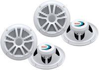 4) Boss Audio Mr6w 6.5 360w Dual Cone Marine/boat Speakers Stereo- White on sale