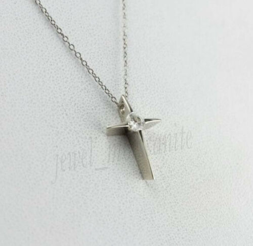 Details about  /Cross Pendant 925 Sterling Silver 7 MM Off White Brilliant Moissanite