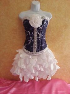 denim  diamonds navy  white corset taffeta petal tutu