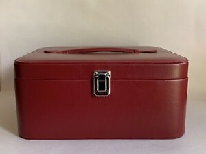 Vintage-1980-Oxblood-Faux-Leather-Vanity-Travel-Make-Up-Case-Black-Fabric-Lining