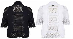 Womens Plus Size Manches Courtes Mesdames Knit Crochet Hausser Bolero Cardigan Ouvert-afficher Le Titre D'origine