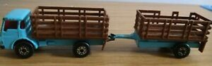 Matchbox-Vintage-1970s-Cattle-Truck-and-Trailer-Die-Cast-Model-Blue
