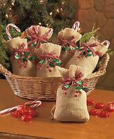 Set Of 6 Burlap & Berry Treat Gift Christmas Holiday Bags