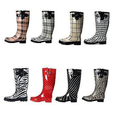 Boots Rain Rubber Women Flat wellies Snow Rainboots All Styles Mid Calf Size New