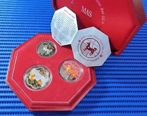 2006-Singapore-Lunar-Dog-Series-Coin-Set-2-10-Silver-Piedfort-Proof-Coin