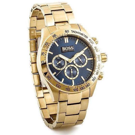 NEW HUGO BOSS HB 1513340 MENS IKON STEEL GOLD BLUE DIAL CHRONOGRAPH WATCH UK