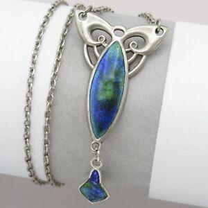 Vtg-Antique-Art-Nouveau-Charles-Horner-Sterling-Silver-Enamel-Pendant-Necklace