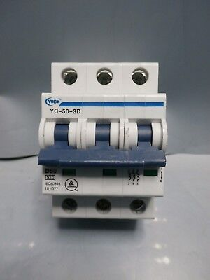 "With 6/"" Din Rail YC-63-3D 63 Amp 3 Pole D Curve Miniature Circuit Breaker"
