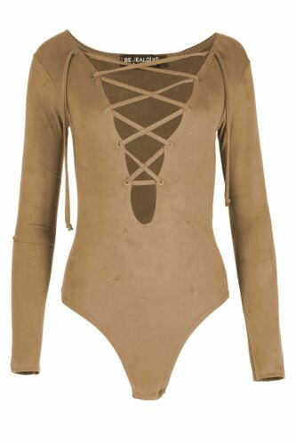 Ladies Bodysuit Suede Front Lace Up Womens Leotard V Neck Plunge Top Long Sleeve