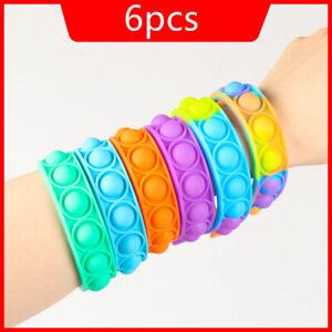 Push Pop it Rainbow New Bracelet Sensory Fidget Toy Pop Bubble Stress Relief 6pc