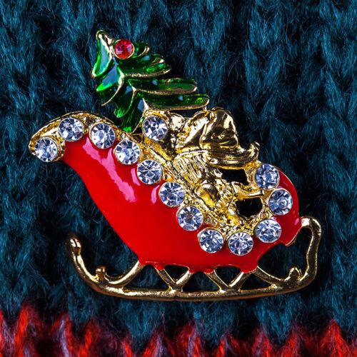 Vintage Look Vintage Árbol De Navidad Broche Pin Cristal Metal Broche De Trineo LH