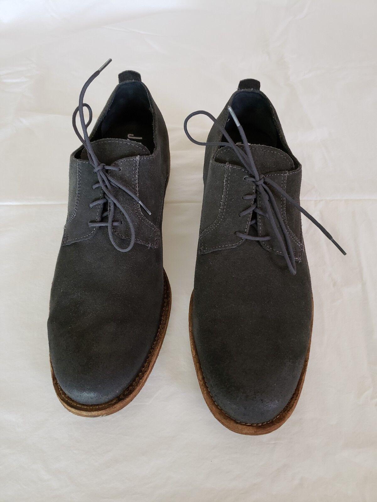 J.D. FISK  Men's Grey Suede Oxfords shoes Size  10.5 M